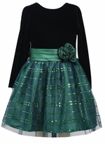 Girls Holiday Dress Green Velour Organza Rosette Dress - SOLD OUT