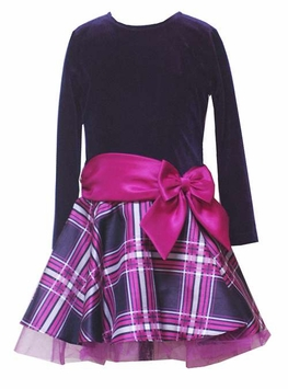 Girls Holiday Dress  -  Rare Editions Purple Plaid Bow Dress