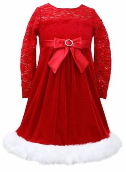 Girls Holiday Dress - Red Lace Velour Dress - OUT OF STOCK