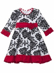 Girls Holiday Dress - Red Trim Black Toile Dress - SOLD OUT