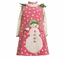 Girls Holiday -  Pink Fleece Snowman Jumper Dress