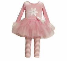Girls Holiday - Pink Snowflake Stretch Velvet Tutu Pant Set  3-6 months