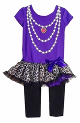 Girls Leopard or Heart Tutu tunic - legging set - PURPLE