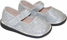Girls Maryjanes - SPARKLE SILVER  Size 8