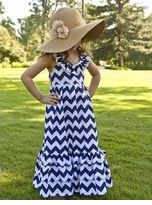 Girls Navy Blue Long Chevron Print Maxi Dress