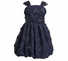 Girls Navy Dress - Beautiful Embroidered Bubble Dress Size 7 last one