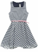 Girls Navy White Square Belted Chiffon Dress