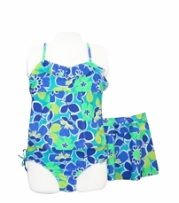 Girls 7-16 Tankini Swimsuit Blue Floral with Swim skirt