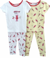Girls Pajamas - 4 To 6x  - Cherry Soda 2 Pack sz 5 - 6X