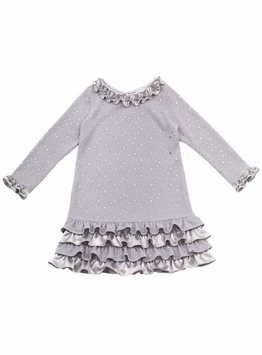 Girls Party Dress 4 - 6X Silver Knit Ruffle Sequin Dress Size