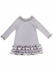 Girls Party Dress 4 - 6X Silver Knit Ruffle Sequin Dress FINAL SALE