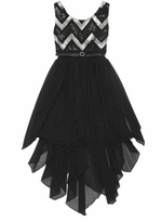 Girls Party Dress Black and Silver Chevron Sequined - out of stock