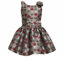 Girls Party Dress -  Silver Satin Roses and Dots