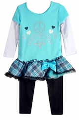 Girls Peace Sign Ruffle Tunic and Leggings - Blue  sold out
