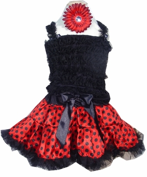 Girls Pettiskirt Set - Red and Black Polka Dots