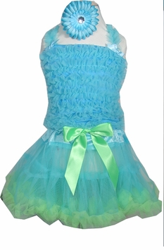 Girls Pettiskirt Set with Smocked Top and Hairbow