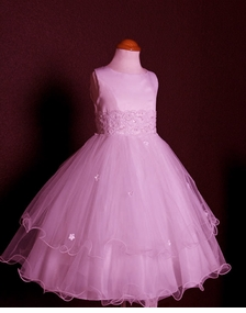Girls Pink Organza Tiered Dress 2T - 16