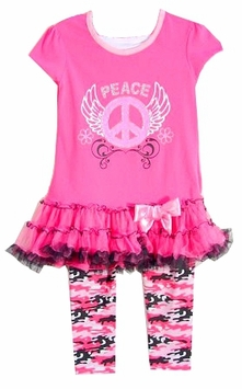 Girls Pink Peace Sign Ruffle Tunic and Camo Legging Set  SIZE 6