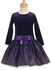 Girls Purple Stretch Velvet Sparkle Party Dress