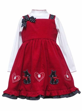 Girls Red Pinafore Dress Black Dot Scotties   SIZE  6 LAST ONE