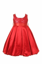 Girls Red Satin and Sequins Holiday Dress
