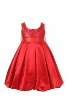 Girls Red Satin and Sequins Holiday Dress CLEARANCE