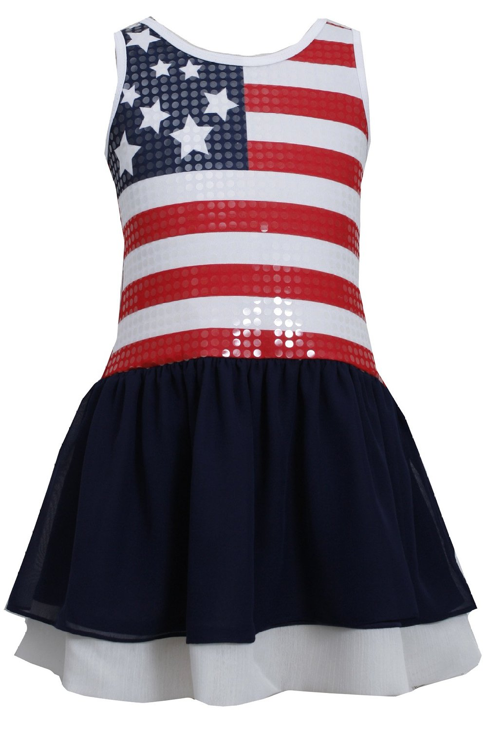 Girls red white blue sequin american flag patriotic dress