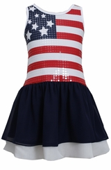Girls Red White Blue Sequin American Flag Patriotic Dress - out of stck