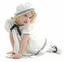 Girls Sailor Dress & Hat - White Nautical - sold out