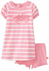 Girls Short Set - Pink Stripe Bow Infant or Toddler