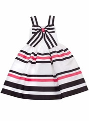 Girls Sundress: White Black Ribbon Social Dress