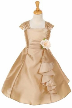 Girls Special Occaion Champagne Gold Taffeta Girls Dress