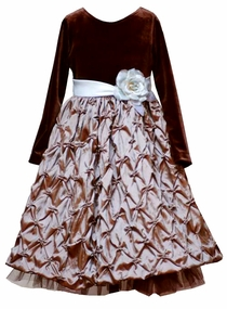 Girls Special Occasion Dress - Brown Pintucked Taffeta  SOLD OUT