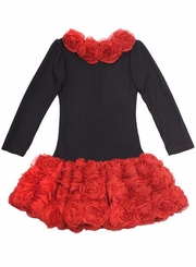 Girls Special Occasion Dress -  Rows of Red Roses