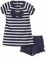 Girls Stripe Short Set - Navy Bow Infant or Toddler