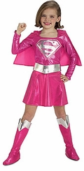 Girls Supergirl Costume - Pink