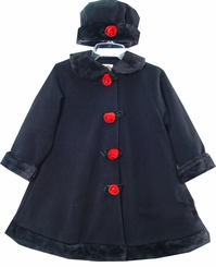Girls Toddler Dress Coats - Black with Roses and Hat  CLEARANCE