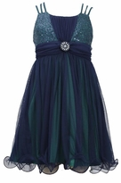 Girls Triple Strap Navy Sequined Chiffon Dress