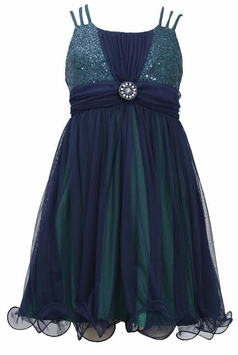 Girls Triple Strap Navy Sequined Chiffon Dress - SOLD OUT