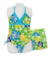 Girls Tropical Floral Swimsuit and Skirt