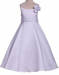 Girls White Holy Communion Dress - White Satin Rose  Size 12  LAST ONE FINAL SALE