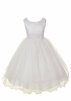 Girls White Dress Organza Tiered Dress - Formal Gown CLEARANCE