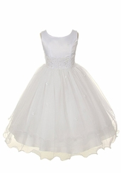 Girls White Dress Organza Tiered Dress - Formal Gown - sold out