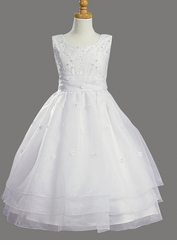 Girls White Flower Girl Dress or Communion Dress - Unique Organza and Pearls sold out