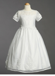 Girls White Formal Dress - Satin Bodice with Organza - SOLD OUT