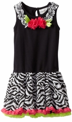 Girls Zebra Print  Pettidress Fuchsia Lime Tutu Dress