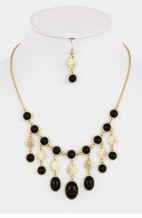 Gold and Black Dangle Bubble Necklace Set