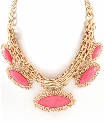 Gold and Coral Oval Charm Necklace