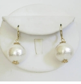 18k Gold Plated and Cotton Pearl Ball earring - SOLD OUT