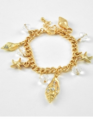 Gold and Crystal Sea Life Charm Bracelet